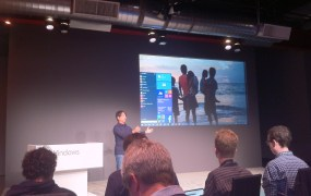 Joe Belfiore gives reporters a first look at the Windows 10  start menu.