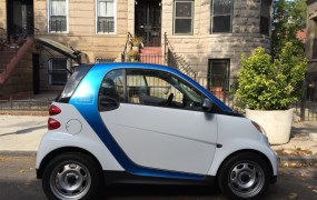 One of Car2Go's on-demand Smart cars in Brooklyn.