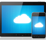 clouds on tablet, smartphone