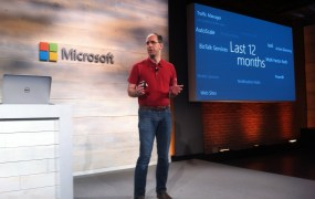 Microsoft's Scott Guthrie announced the Cloud Platform System, a hardware-software combination to run cloud applications, at a press event in San Francisco on Oct. 20.