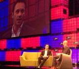 Oculus CEO Brendan Iribe, left, speaks at the Dublin Web Summit.
