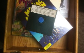 A floppy-disc mockup of Thimbleweed Park.