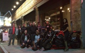 A gathering of electric motorcycle riders.