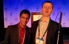 13-year-old entrepreneur Shubham Banerjee, of Braigo Labs, and Braigo Labs advisor Henry (Hoby) Wedler.