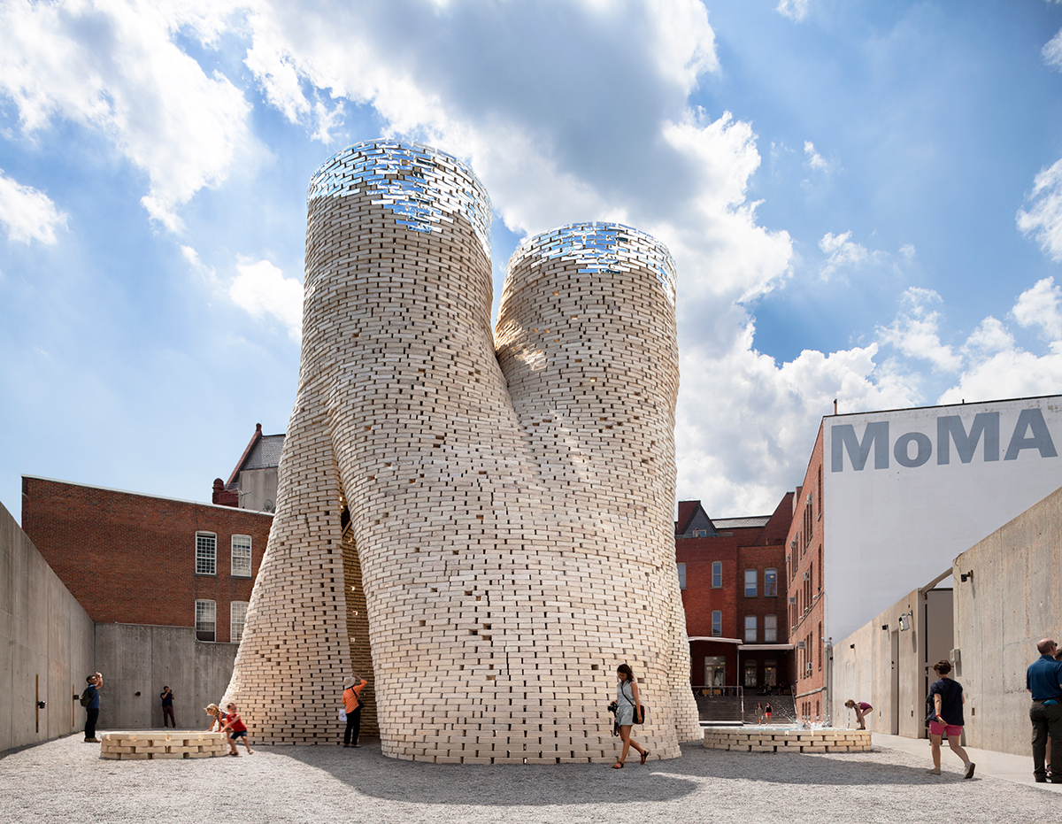 Hy-Fi, a 40-foot-tall building made from organically-grown bricks, at New York's MoMA PS1.
