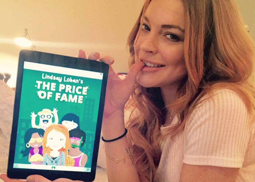 Lindsay Lohan shows off her new game.