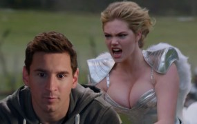 Lionel Messi from the FIFA 15 ad and Kate Upton from the Game of War ad.