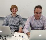 Richard Socher, left, and Sven Strohband of MetaMind at the startup's office in Palo Alto, Calif., on Dec. 3.
