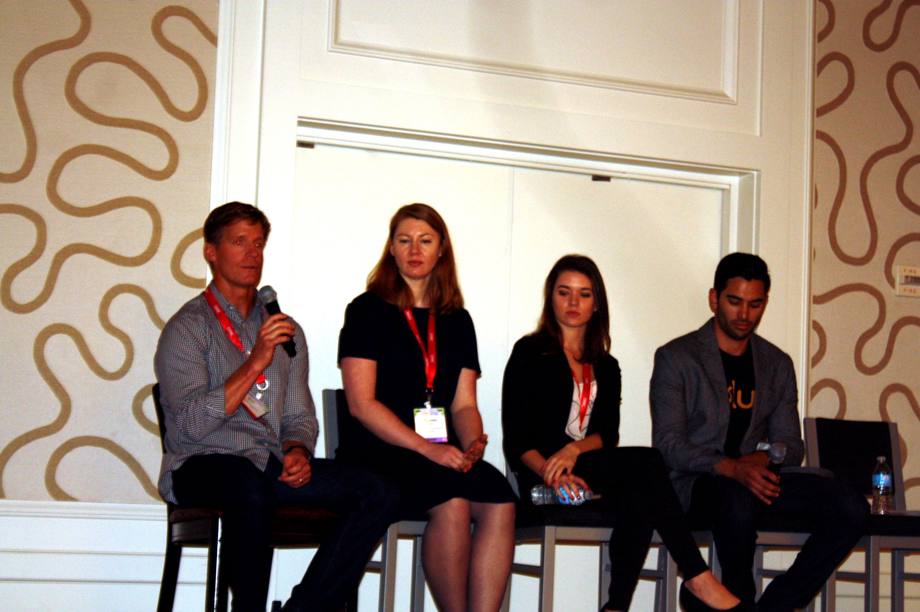 Dave Madden of EA (far left),  Rhiannon White of Shazam, Ashley Higgins of Sega, and Christian Limon of Glu Mobile.