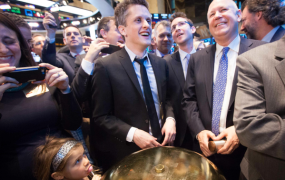 Box CEO Aaron Levie (center) at the NYSE for the company's IPO