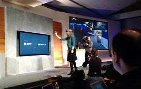 An onstage HoloLens demo at Microsoft's Windows 10 event at Microsoft headquarters on Jan. 21.