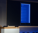 Joe Belfiore shows off Windows 10 on mobile at a Microsoft event at company headquarters in Redmond, Wash., on Jan. 21.