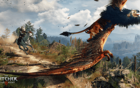 Geralt tracks a griffon to take it down.
