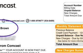 Ms. Brown's actual Comcast bill.