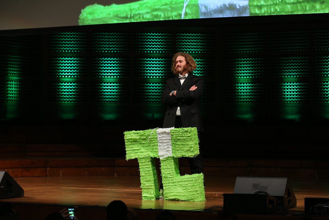 "T.J. Miller of the show ""Silicon Valley"" at the Crunchies ceremony in San Francisco on Feb. 6"