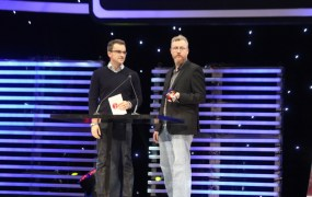 BioWare's leaders accept Game of the Year at the 2015 Dice Awards.