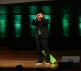 Emcee T.J. Miller, just after breaking the TechCrunch pinata over his head.