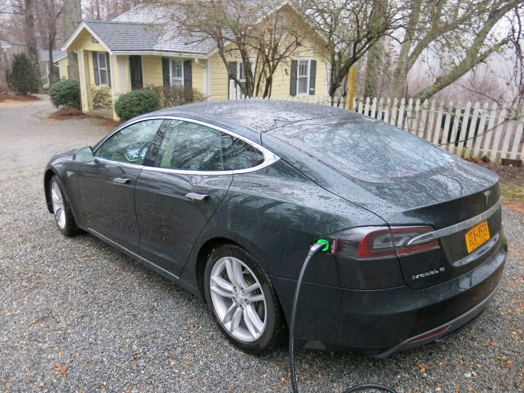 A Tesla Model S electric car on a road trip from upstate New York to southern California.