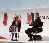 FCC chairman Tom Wheeler being interviewed by GSMA director general Anne Bouverot