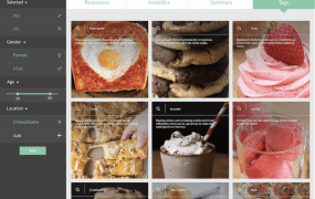 "Yummy visual tags showing categories of responses on GlimpzIt to ""What is your favorite food?"" campaign."