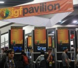 The main display at this year's Independent Games Festival Pavilion on the GDC 2015 show floor.