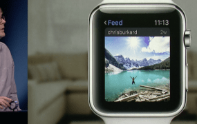 Instagram's Apple Watch app during a demo at an Apple event on March 9.