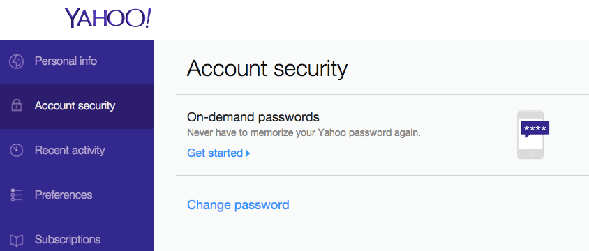 """Yahoo now lets you enable """"on-demand"""" passwords via its security tab."""