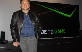 Nvidia CEO Jen-Hsun Huang with the Shield Set-Top Console