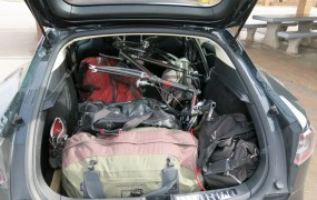 Tesla Model S packed for road trip, upstate New York to Southern California