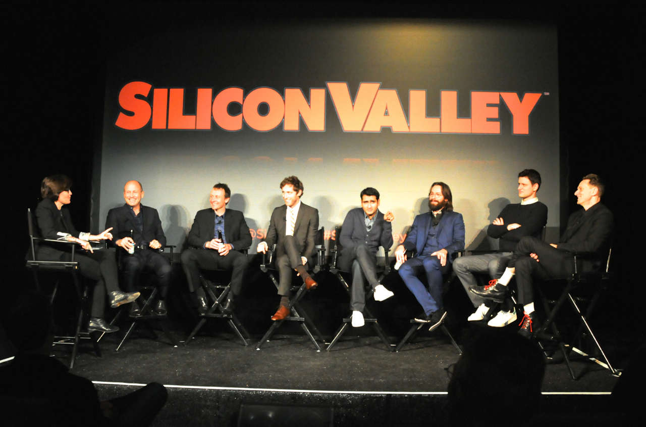 The creators and stars of 'Silicon Valley,' minus T.J. Miller, at the show's second-season premiere Wednesday night.