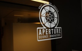 Portal Aperture sign at Valve HQ.
