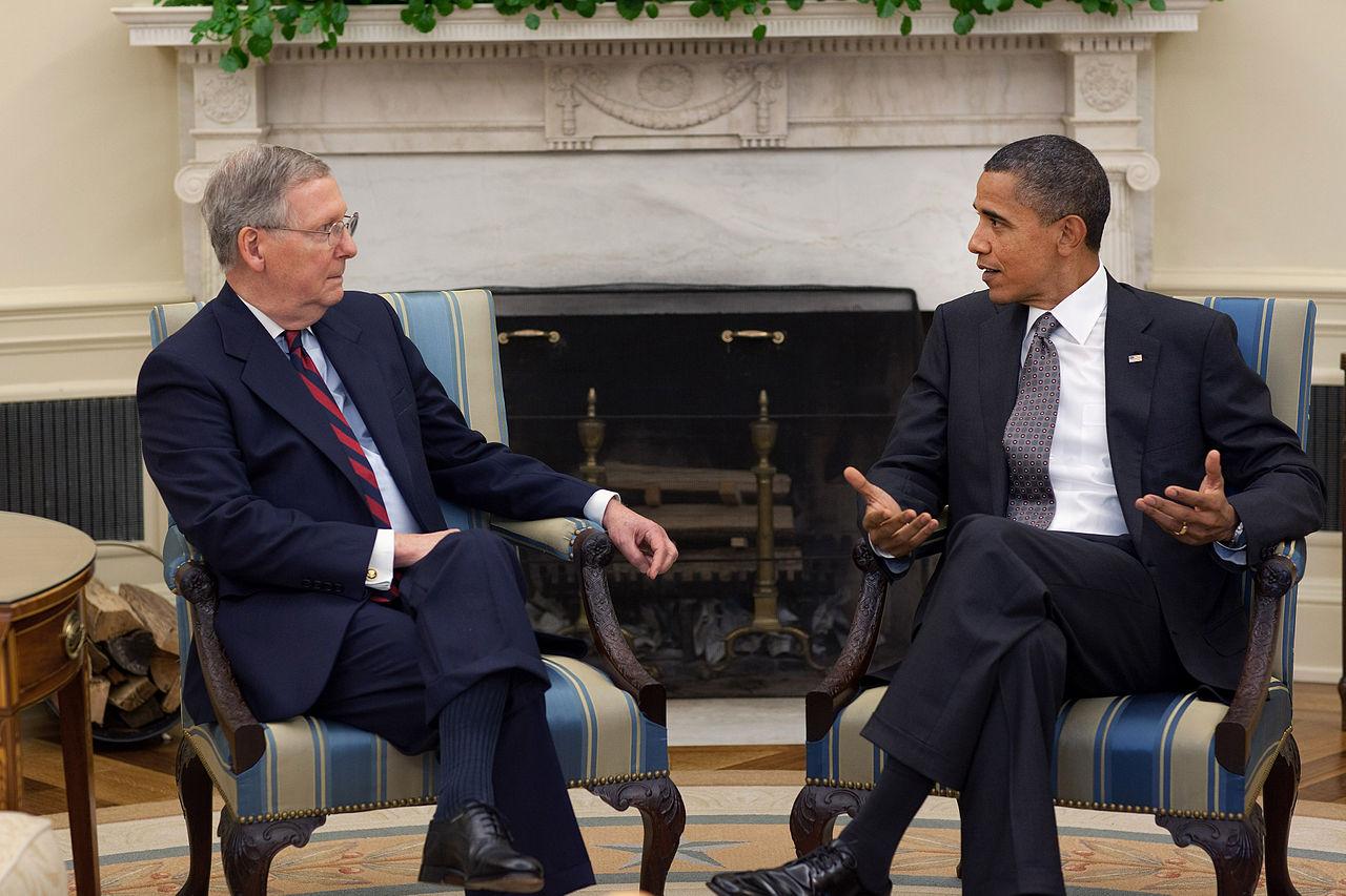 Senate majority leader and president Barack Obama not seeing eye-to-eye in the White House