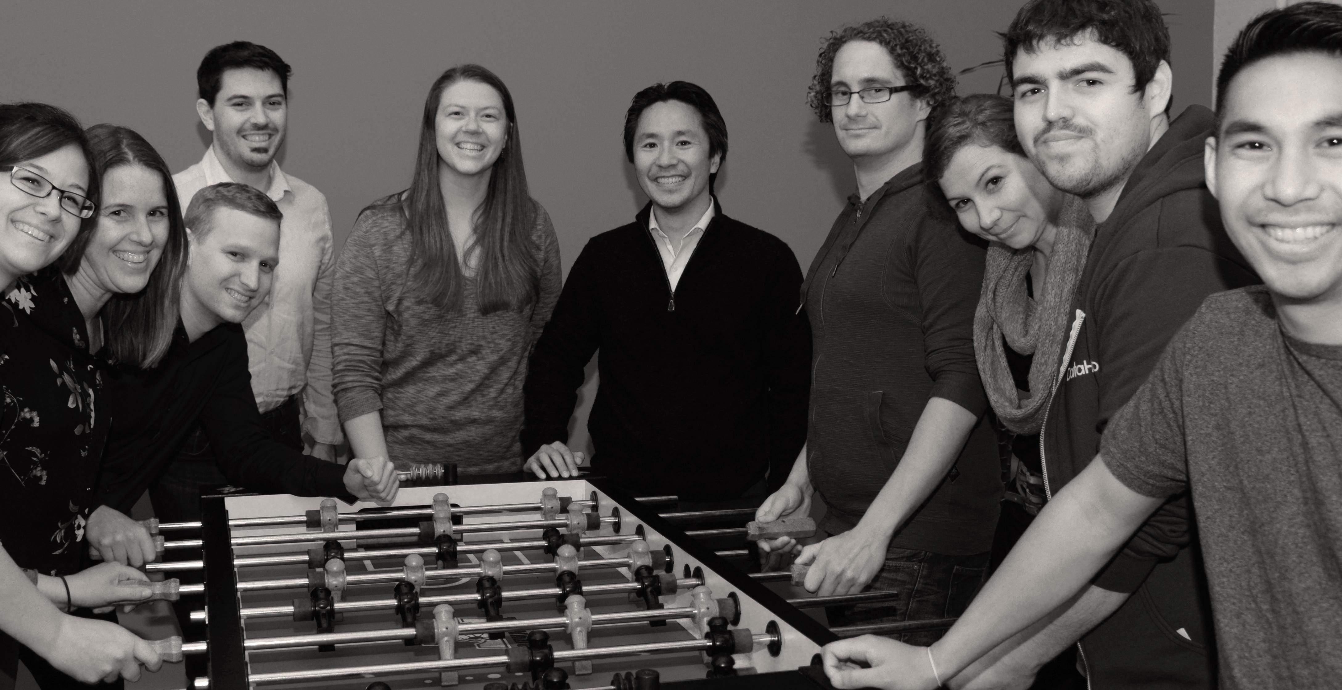 The DataHero team. Neumann is fourth from left.
