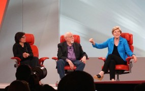 Massachusetts Senator Elizabeth Warren, onstage at the Code Conference with Kara Swisher and Walt Mossberg.