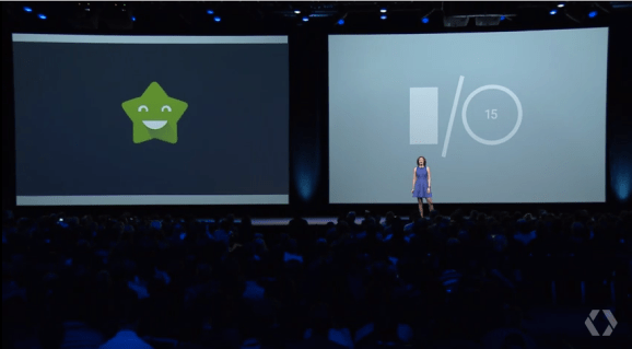 Google Play product manager Ellie Powers at the 2015 Google I/O keynote in San Francisco on May 28.