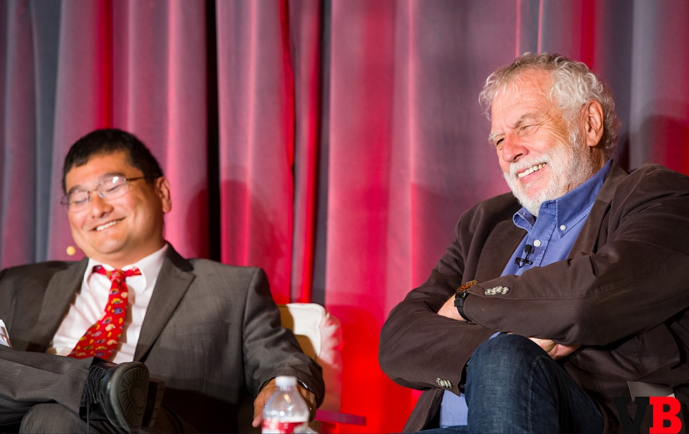 GamesBeat's Dean Takahashi and Nolan Bushnell, the founder of Atari.