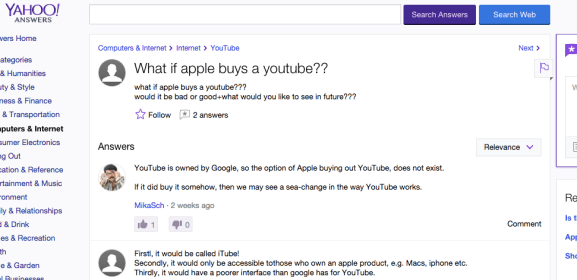 yahoo answers apple youtube