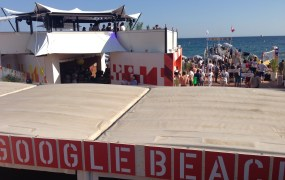 Google's beach cabana at Cannes Lions. Suck it, Mountain View.