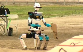 A robot at the 2015 Darpa Robotics Challenge gets stuck in the sand.