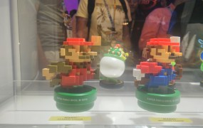 A closer look at the 8-bit Mario Amiibo.