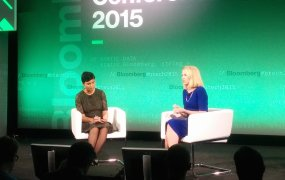 Yahoo CEO Marissa Mayer speaks onstage with Bloomberg's Stephanie Mehta.