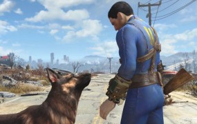 A man and his dog in Fallout 4.