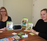 Leapfrog's Jody Sherman LeVos and Paula Larsen Moore  show off latest products.