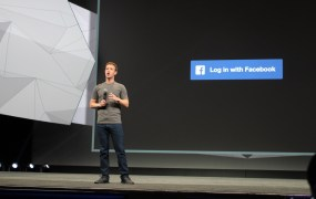 Mark Zuckerberg on stage at Facebook's F8 Conference