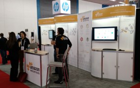 The Amazon Web Services booth at Strata Hadoop World in San Jose, Calif., on Feb. 19.