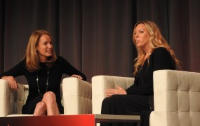 Julie Atkinson (left) of Starwood with Nadine Dietz at MobileBeat 2015.