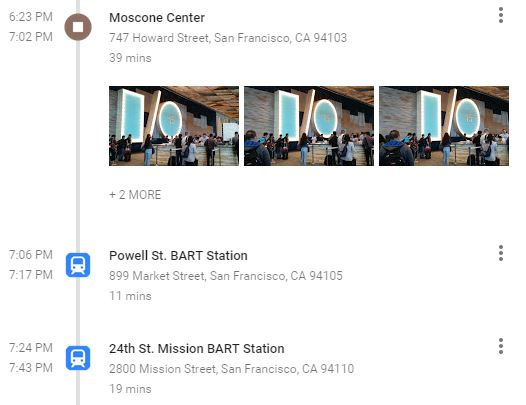 Identifying transportation locations in Google Maps Your Timeline.