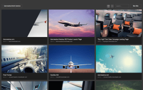 A Brandcast dashboard screen, where each image represents a different site or landing page for a fictional client, Aeronautica.