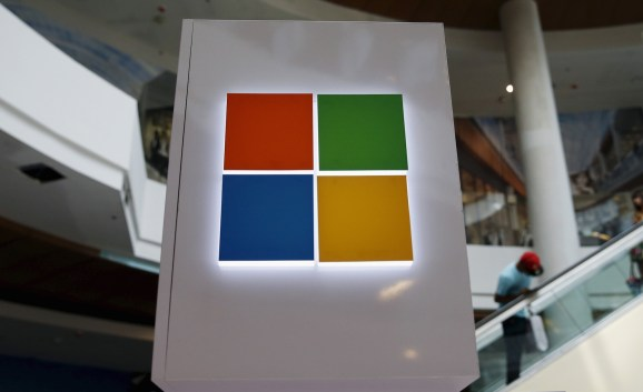 A Microsoft logo is seen at a pop-up site for the new Windows 10 operating system at Roosevelt Field in Garden City, New York July 29, 2015.