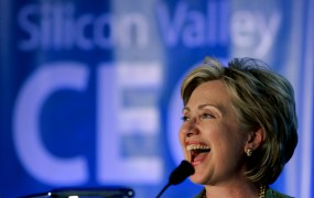 U.S. Democratic presidential hopeful and New York Senator Hillary Rodham Clinton smiles during a speech at the Silicon Valley Leadership Summit in Santa Clara, California May 31, 2007.